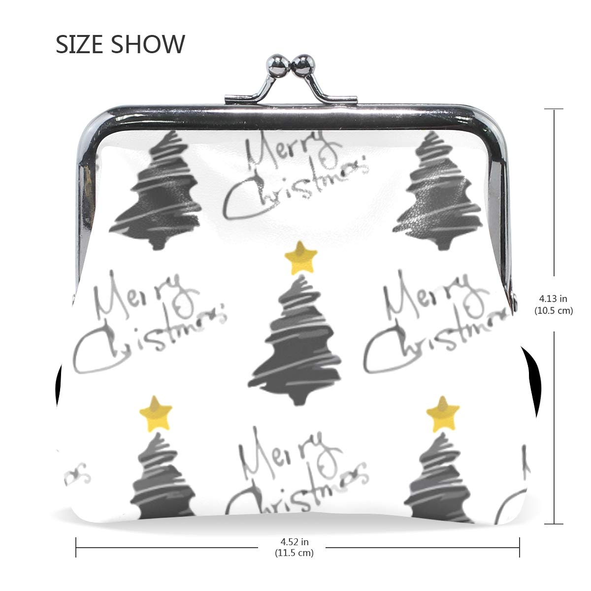 Doodle Christmas Tree Merry Xmas Coin Purse Buckle Vintage PU Pouch Kiss-lock Wallet for Women Girl