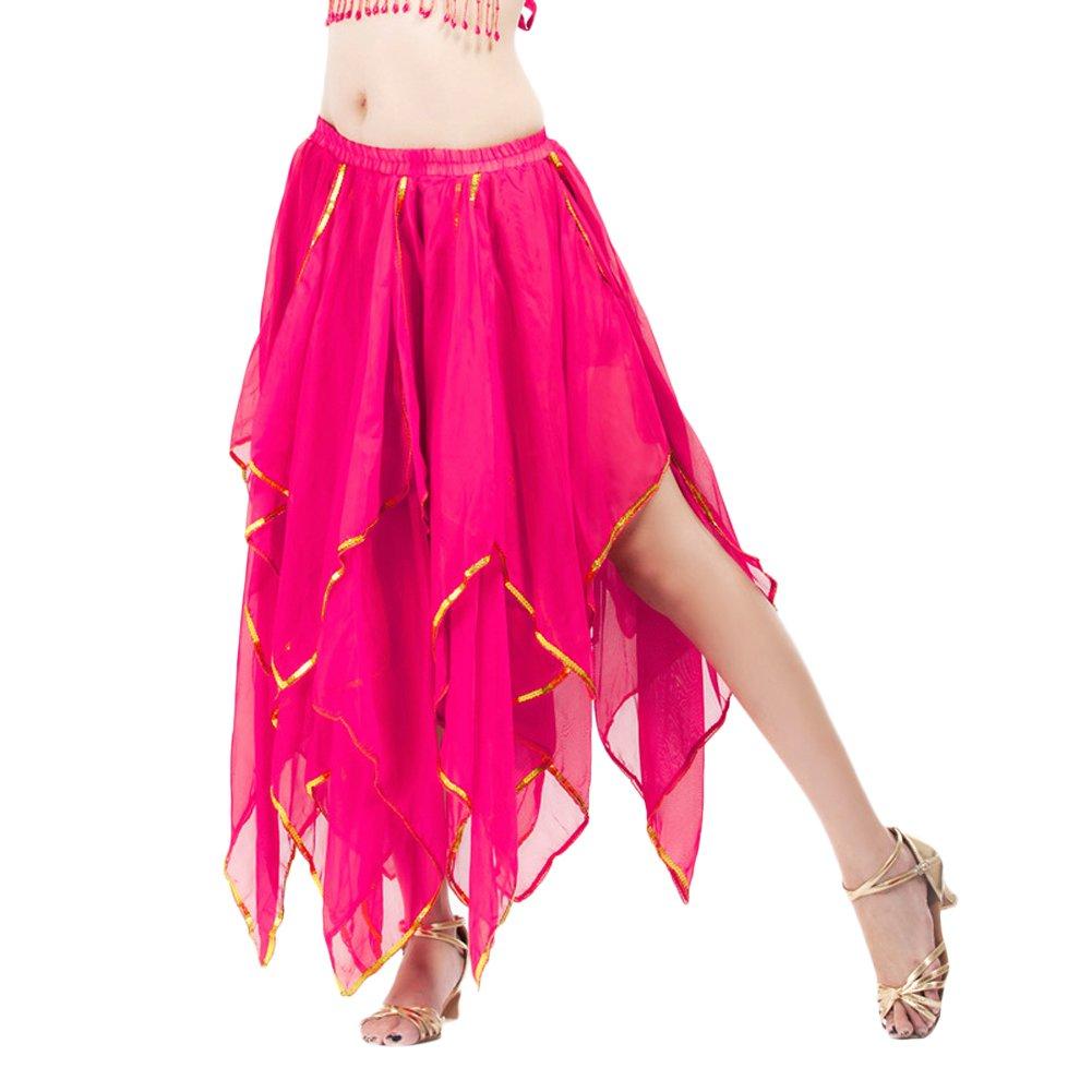 Feicuan Damen Bauchtanz Rock Ruffle Long Skirts Fairy Fancy Dancewear