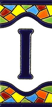 """Image ofLetreros con numeros y letras en azulejo de ceramica policromada, pintados a mano en técnica cuerda seca para placas con nombres, direcciones y señaléctica. Texto personalizable. Diseño MOSAICO MEDIANO 10,9 cm x 5,4 cm. (LETRA """"I"""")"""