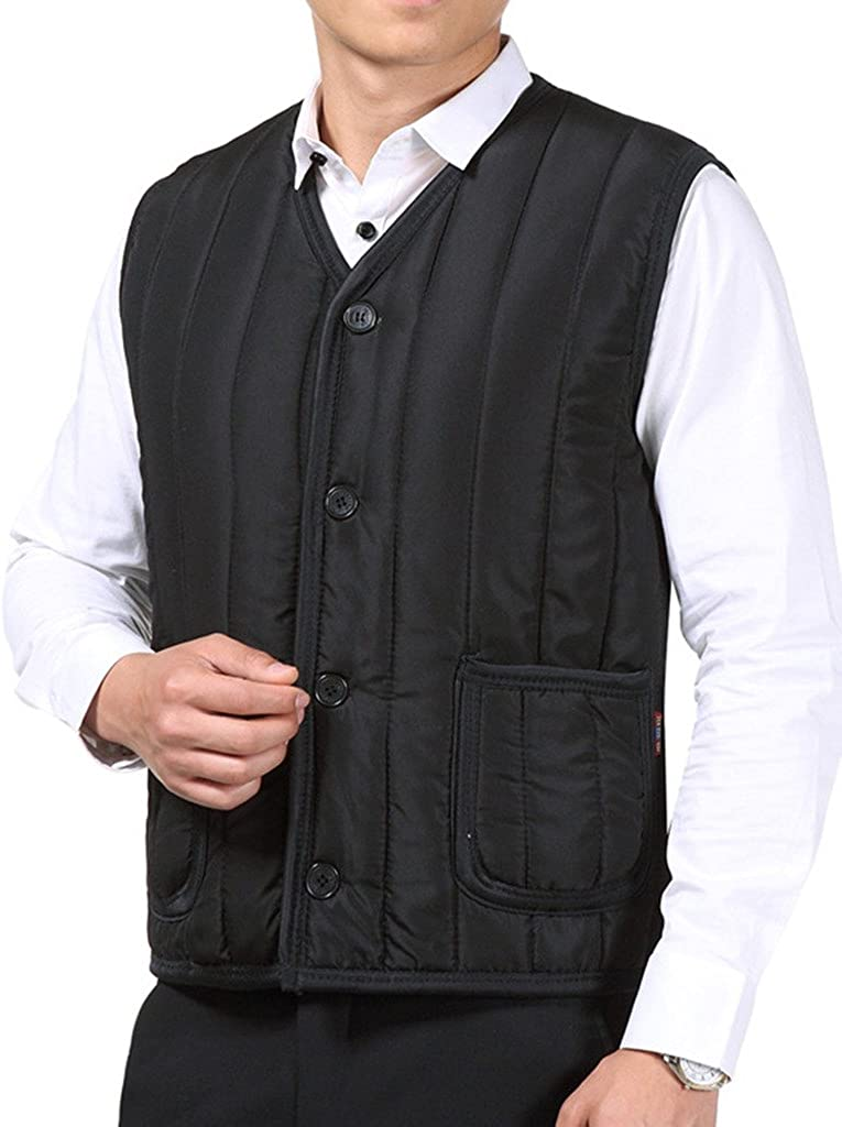 ZANLICE Mens Winter Warm Thermal Vest Vneck Button Down Quilted Vest