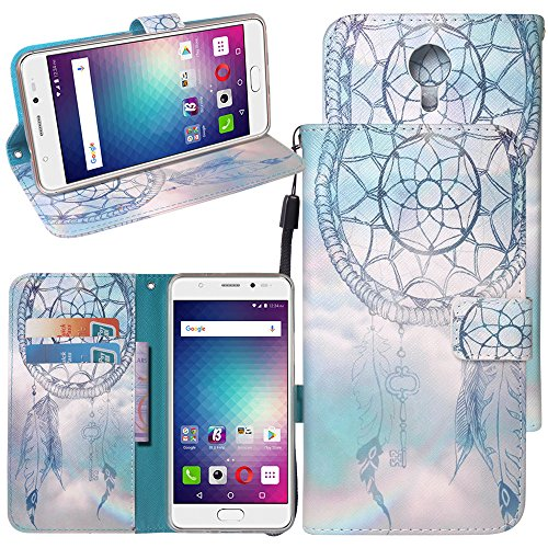 BLU Life One X2 Case, Linkertech Kickstand Flip Pouch PU Leather Wallet Case Cover with Strap & Card Slot for BLU Life One X2 L0090UU (A-2)