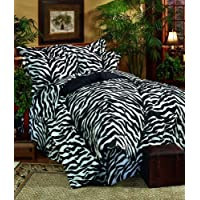 Kimlor Mills Karin Maki Zebra Complete Bed Set, Queen, Black