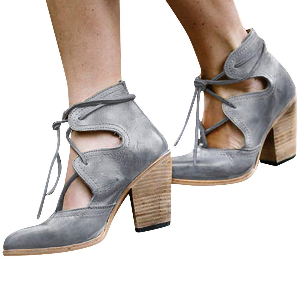 Heeled Sandals for Women Summer Classic Fashion Pumps Heel Breathable Ankle Lace-Up Non-Slip Roman Shoes Retro Sandals (7, Gray) by PaJau-Women's Shoe (Image #2)
