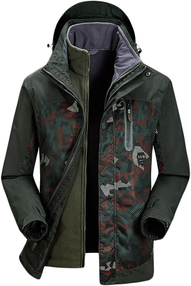 迷彩パターン3イン1スキージャケット耐摩耗性と冬の暖かいメンズ 多機能 (色 : アーミーグリーン, サイズ : M) アーミーグリーン Medium