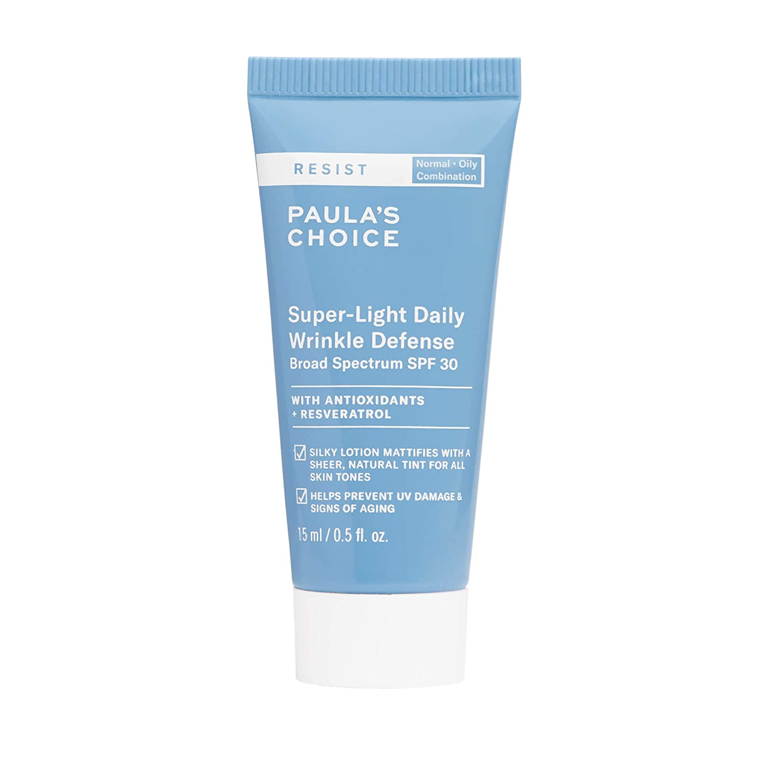 Paula's Choice RESIST Super-Light Daily Wrinkle Defense SPF 30 Matte Tinted Face Moisturizer with UVA & UVB Protection, Anti-Aging Sunscreen for Oily Skin, Travel Size