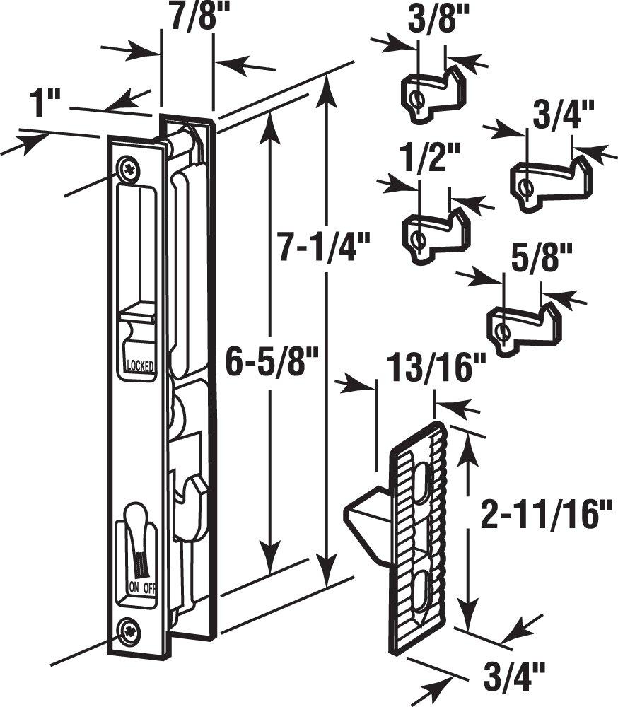 Prime-Line C 1226 Sliding Door Flush Latch, 6-5/8 in., Diecast, White, Pack of 1