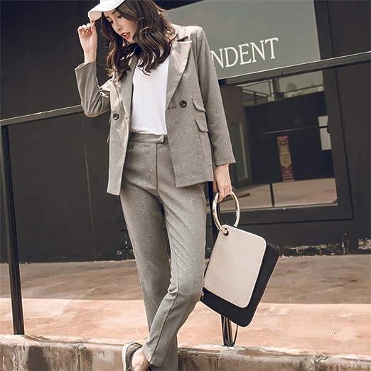 LUDAGED Traje de Mujer Blazer Gris Pantalón de Cintura Office Lady ...