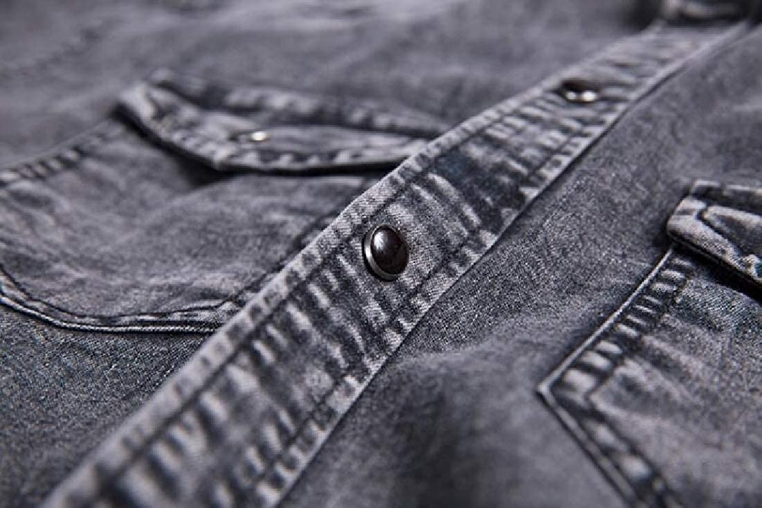 Lutratocro Men Pocket Short Sleeve Slim Lapel Neck Denim Button Down Shirts