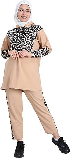 Fabienne Leopard Striped Long Sleeve Top Pants Set Tracksuits for Women Muslim Women Hoodie Sportswear Sports Sweatshirt Sets