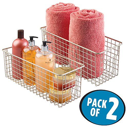 mDesign Wire Storage Basket for Bath Towels, Shampoo, Health and Beauty Supplies - Pack of 2, Satin (Small Wire Baskets)