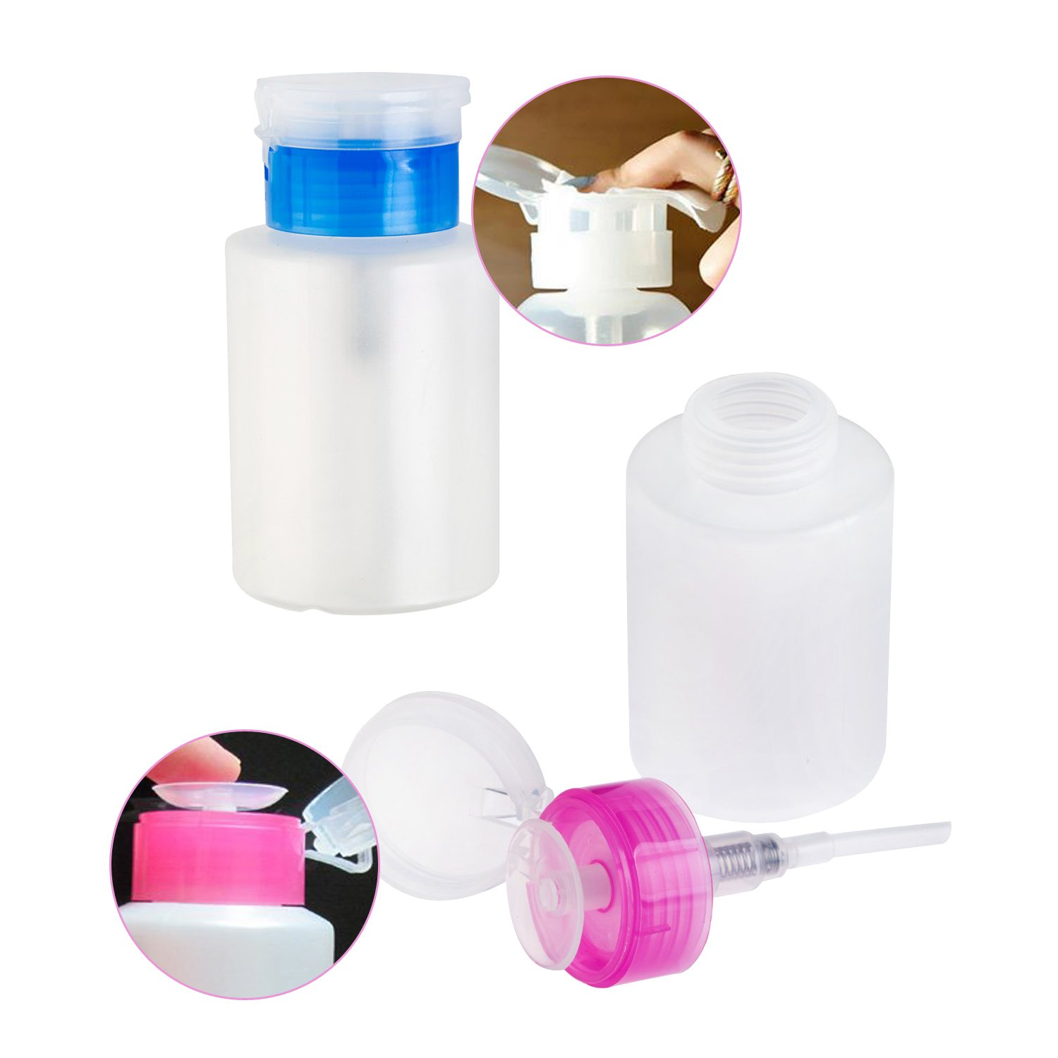 High Quality Set of 2pcs Nail Art And Make Up Cosmetics Liquids Pump Bottles Dispensers for Polish / Varnish Removers, Creams, Tonics And Lotions With Pink And Blue Lids By VAGA