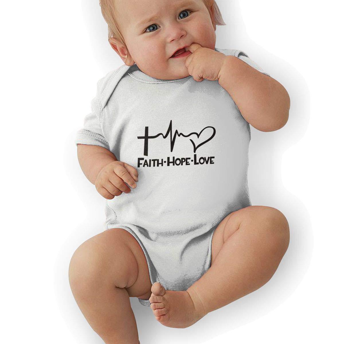 Infant Baby Boys Bodysuit Short-Sleeve Onesie Faith Hope Love Print Outfit Summer Pajamas