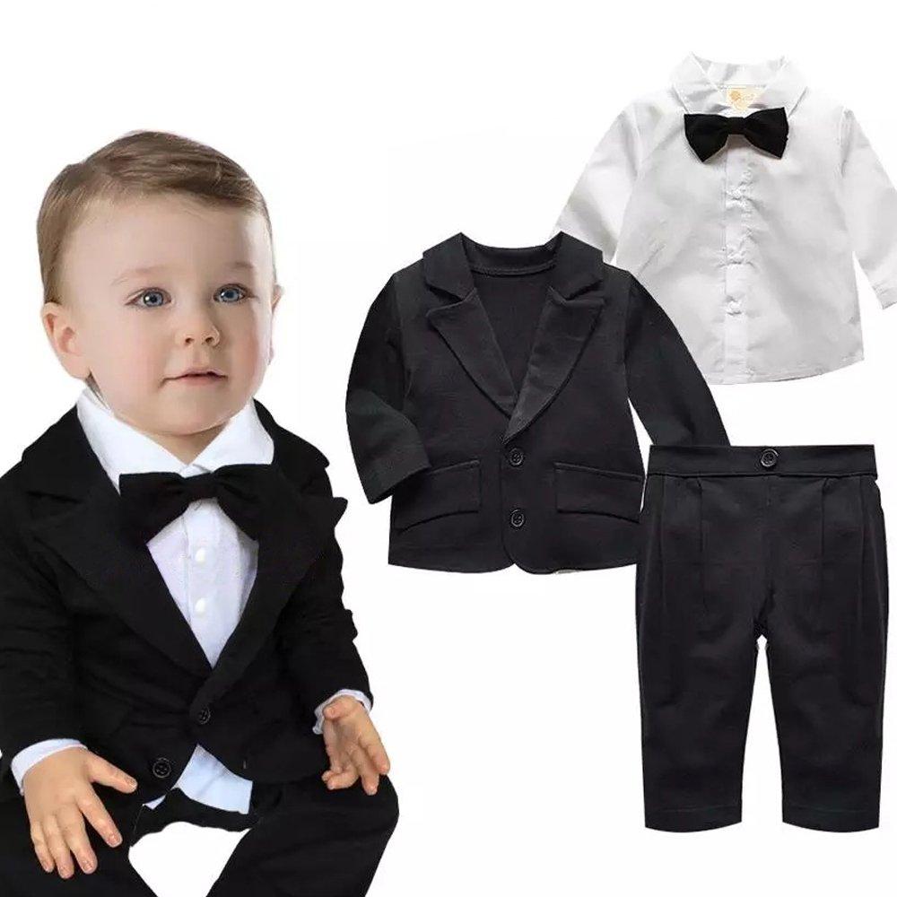 XIANGWU TEXTITLE Formal Party Wedding Suit for Baby Boys Tuxedo Suit Set 3 Pcs Shirt Blazer Pants Outfits