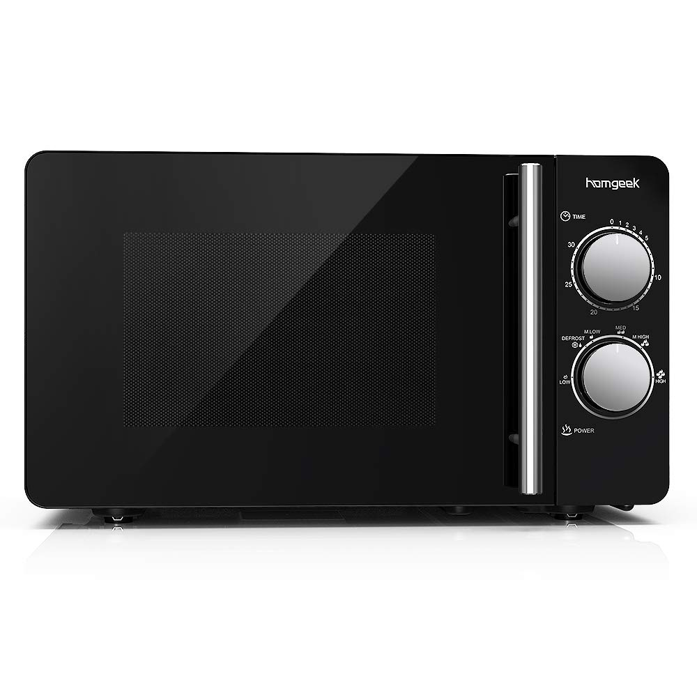 homgeek horno de microondas con frontal de espejo, 20L, 700W, 6 niveles, color negro product image