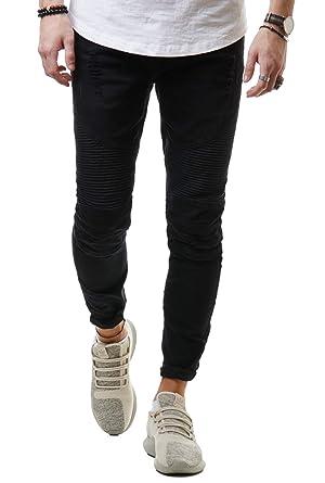 676c8b9f6f1998 EightyFive Herren Jeans-Hose Denim Slim Fit Zerrissen Schwarz Grau Grün  EF1513  Amazon.de  Bekleidung