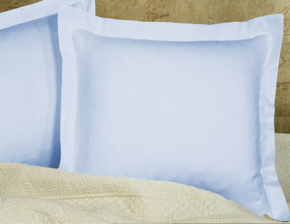 saharbeddings Hotel Quality 500 Tc Pillowcase Set of 2 Pillow sham Euro (26X26) Size In Light Blue Solid, with 100 % Egyptian Cotton