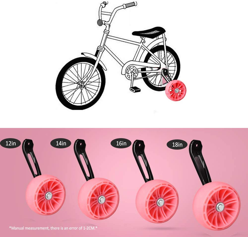 Thicken Bike Training Wheels Under 60lb with Heavy Duty Magnesium Alloy for 12 Inch Pink Including Mounted Kit SPORUS Training Wheels