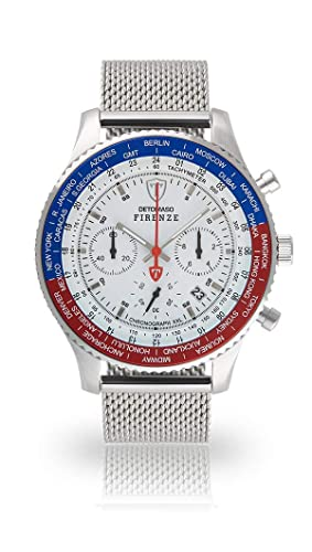 Detomaso Firenze XXL de Hombre Reloj de Pulsera Cronógrafo analógico de Cuarzo silbernes Milanaise Pulsera Esfera Blanca dt1045 de m de 852: Amazon.es: ...