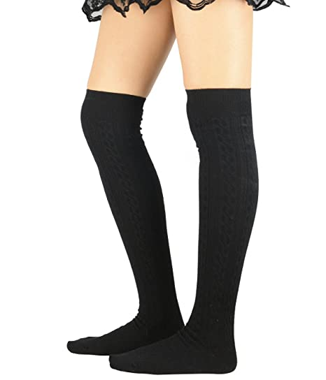 4c6f8dead Zando Women Cotton Knit Spiral Over The Knee Thigh High Long Stocking Socks  F Black at Amazon Women s Clothing store