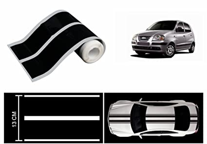 Speedwav car racing stripe graphic sticker black hyundai santro xing