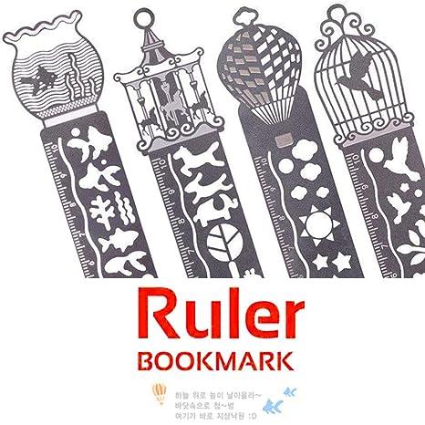 Set de marcapáginas de metal con plantillas de dibujo y Regla, para Escuela, Oficina
