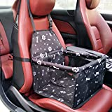 Pet Booster Seat Dog Cat Cage Comfort Travel Waterproof Foldable Safety Car Front or Rear Seats with Seat Belt Tether (Bone)