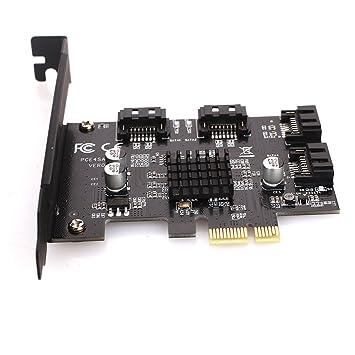 Jiayuane Tarjeta controladora SATA III PCIe 3.0 X1 de 4 Puertos ...