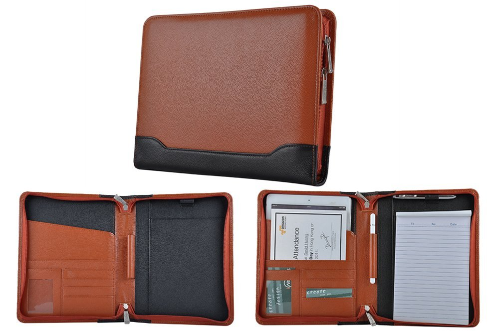 Compact Leather Organizer Padfolio for A5 Notepad and Tablet,Brown