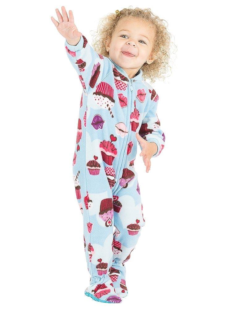 Footed Pajamas - Blue Cupcakes Infant Fleece Onesie