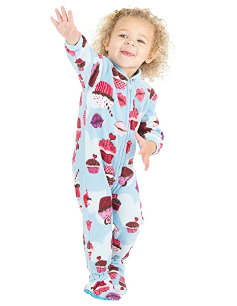 80f9ffced5ec Amazon.com  Footed Pajamas - Blue Cupcakes Infant Fleece Onesie ...