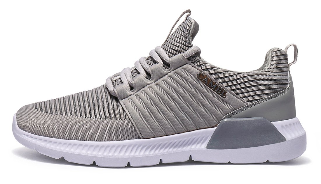 CAMEL CROWN Men's Sport Running Shoes Lightweight Walking Sneaker Athletic Casual Shoes, Grey, Size 9