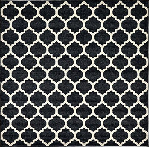 10 Square Black Rug (Unique Loom Trellis Collection Black 10 ft Square Area Rug (10' x 10'))