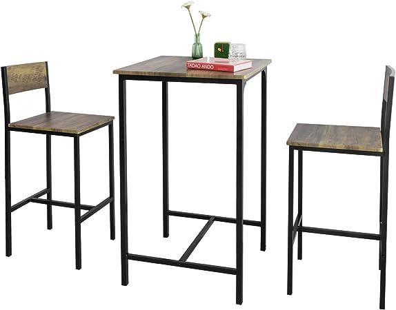 SoBuy OGT27 N Ensemble Table de Bar + 2 Chaises de Bar Table