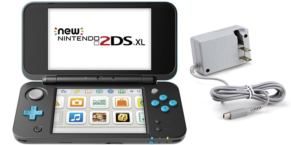 Nintendo 2DS XL Bundle (2 Items): Nintendo New 2DS XL (Black + Turquoise) and Tomee AC Adapter by Nintendo