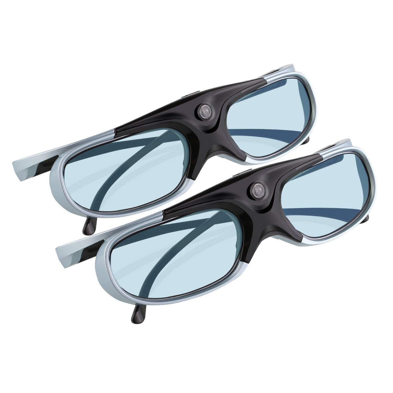 APEMAN 3D Glasses Ultra-Clear HD 144 Hz DLP Link 3D Active Rechargeable Shutter Glasses for All 3D DLP-Link Projectors - Two Pack