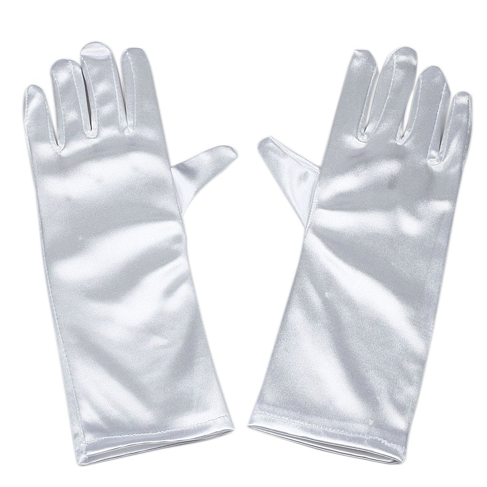 RUNHENG Satin Long Child Size Girls Formal Gloves, 9.45 Inch 9.45 Inch (Black)
