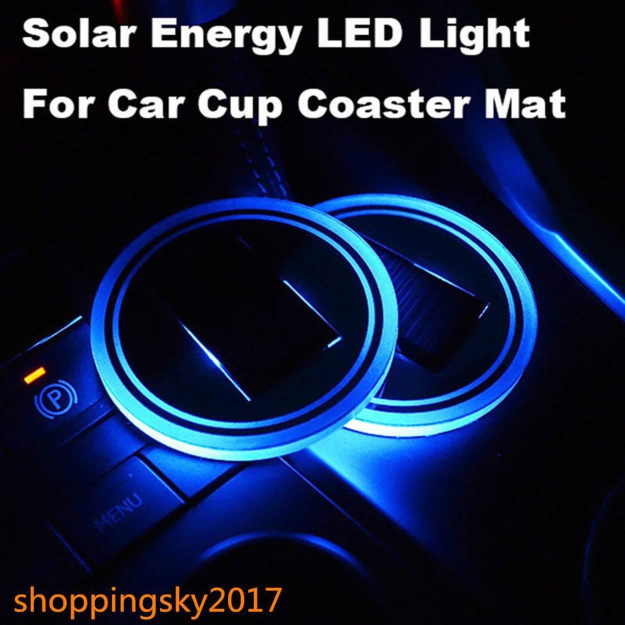 Lorenlli Universel solaire LED support de tasse de voiture tapis anti-d/érapant pad /étanche bouteille boit la lampe datmosph/ère Coaster pour voiture SUV camion