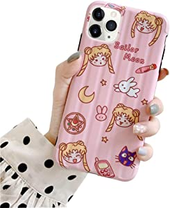 MC Fashion iPhone 11 Pro Max Case, Cute Vibrant Glossy IMD Sailor Moon Luna Cat Case, Slim Fit Black Bumper Full-Body Soft Protective TPU Case for Apple iPhone 11 Pro Max 6.5 inch 2019 (Pink)