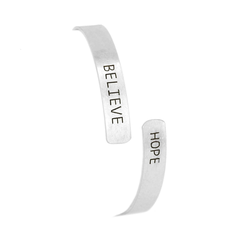 POMINA Stamped Metal Bracelet Thin Cuff Inspirational Message Engraved Bangle