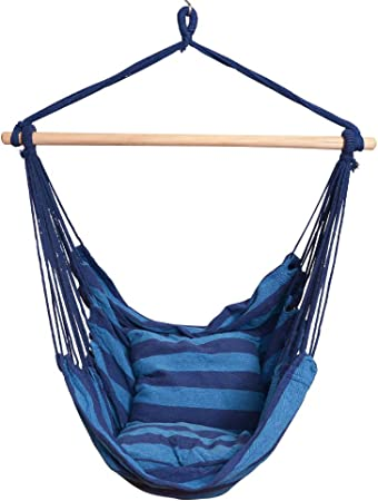 Amazon Com Prime Garden Comfort Hanging Hammock Chair Rope Swing Chair With 2 Cushions For Indoor Or Outdoor Max 275 Lbs Seaside Blue Stripe Garden Outdoor