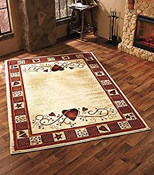Perfect 63u0026quot; X 90u0026quot; Whimsical Country Hearts And Stars Area Rug Shabby Chic  ...
