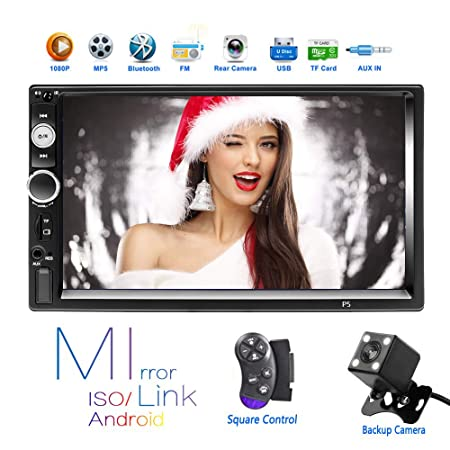Hikity 2 Din Car Stereo 7 HD Touch Screen MP5 Player Bluetooth FM Radio Support iOS Android Phone Mirror Link with AUX Dual USB SD DVR Input Backup Camera Steering Wheel Control