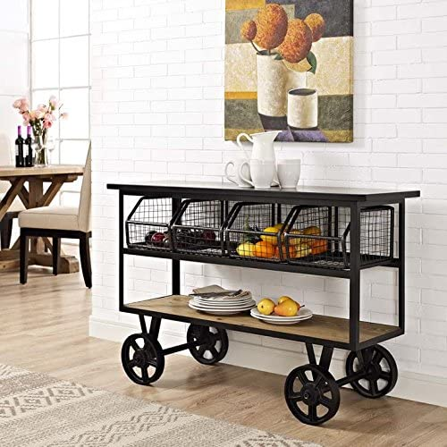 Modway Fairground Industrial Modern Rustic Farmhouse Pine Wood and Steel Rolling Cart Kitchen Serving Stand in Brown – Fully Assembled