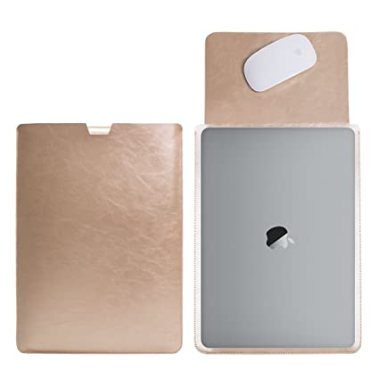 19a221594e36 WALNEW Sleek 15 MacBook Pro Retina 15.4-Inch Protective Soft Sleeve Case  Cover Bag with Safe Interior and Exterior Mouse Pad, Gold