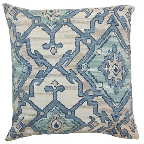 The Pillow Collection P18FLAT-D-42453-AEGEAN-C100 Halia Ikat Throw Pillow Cover, 18