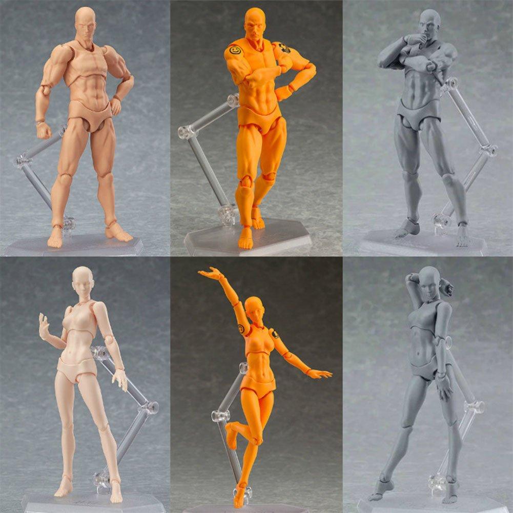 Zantec Modello di figura corporea Anime Archetype He She Ferrite Figma Movable Body Action PVC Figure Model Toys Doll for Collectible Femmina arancione