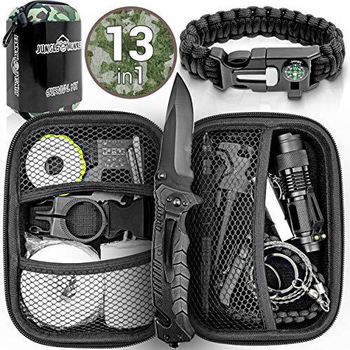 Jungle Monkey Survival Kit Premium Set mit Messer & Taschenlampe, Survival Ausrüstung Set für Wandern & Camping I…