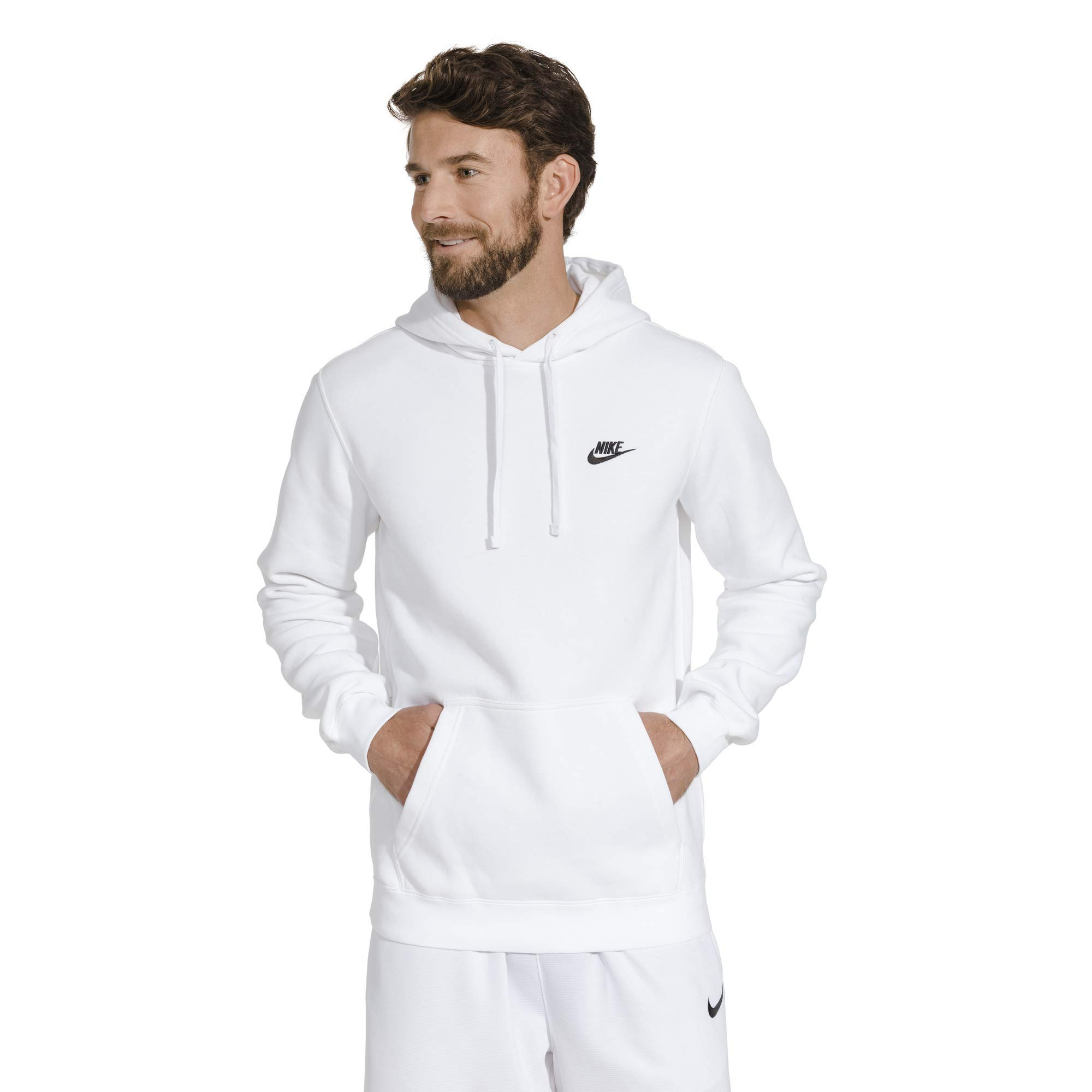 Men's Nike Sportswear Club Pullover Hoodie, Fleece Sweatshirt for Men with Paneled Hood, White/White/Black, 4XL-T