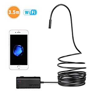 DEPSTECH Wireless Endoscope, WiFi Borescope Inspection 2.0 Megapixels HD Snake Camera for Android and iOS Smartphone, iPhone, Samsung, Tablet -Black(11.5FT)