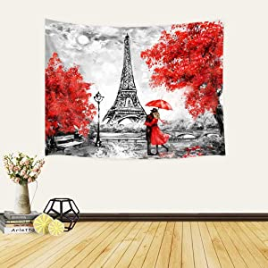 JAWO Oil Painting Paris Tapestry Wall Hanging Art Home Decor, 60x40 in, European City Landscape France Eiffel Tower Black White Red Modern Couple Wall Tapestry for Bedroom Living Room College Dorm